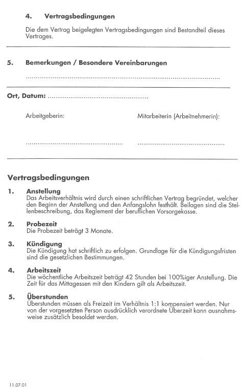 Familien Forum Vorlage Arbeitsvertrag Kleinkindererzieherin